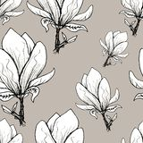 Floral seamless pattern. Blooming magnolia on a grey background. Print for fabric and other surfaces. Raster illustration. Wallpaper, flower, design, spring stock illustration