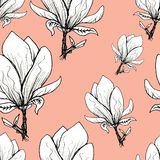 Floral seamless pattern. Blooming magnolia on a pink background. Print for fabric and other surfaces. Raster illustration. Wallpaper, flower, design, spring vector illustration
