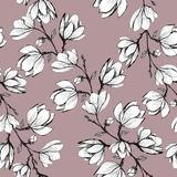 Floral seamless pattern. Blooming magnolia on a pink background. Print for fabric and other surfaces. Raster illustration. Wallpaper, flower, design, spring royalty free illustration