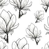 Floral seamless pattern. Blooming magnolia on a white background. Print for fabric and other surfaces. Raster illustration. Wallpaper, flower, design, spring vector illustration