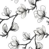 Floral seamless pattern. Blooming magnolia on a white background. Print for fabric and other surfaces. Raster illustration.Black. Floral seamless pattern royalty free illustration