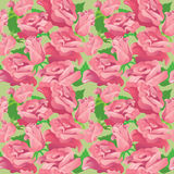 Floral seamless pattern with blooming pink roses. Stock Photography