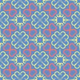 Floral seamless pattern. Blue background with colored flower elements. For wallpapers, textile and fabrics vector illustration
