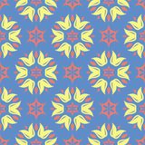 Floral seamless pattern. Blue background with colored flower elements. For wallpapers, textile and fabrics Stock Photography