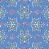 Floral seamless pattern. Blue background with colored flower elements. For wallpapers, textile and fabrics Royalty Free Stock Photo