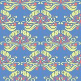 Floral seamless pattern. Blue background with colored flower elements. For wallpapers, textile and fabrics stock illustration