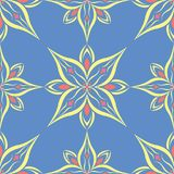 Floral seamless pattern. Blue background with colored flower elements. For wallpapers, textile and fabrics Stock Image