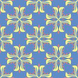 Floral seamless pattern. Blue background with colored flower elements. For wallpapers, textile and fabrics Royalty Free Stock Photos