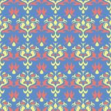 Floral seamless pattern. Blue background with colored flower elements. For wallpapers, textile and fabrics Stock Photo