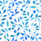 Floral seamless pattern with blue branches and berries. Watercolor hand drawn illustration.white background Stock Photo