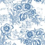 Floral seamless pattern in blue color Stock Photos