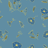 Floral seamless pattern on blue Royalty Free Stock Photography