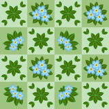Floral seamless pattern with blue flowers. Floral seamless pattern with chamomiles and grass on summer green background. Vector illustration Stock Photography