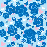 Floral seamless pattern with blue flowers and hearts Royalty Free Stock Images