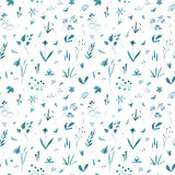 Floral seamless pattern of a blue flowers,herbs and insects. Buttercup, cornflower, bluebell,bulrush, berry and snowdrop. Watercolor hand drawn illustration vector illustration