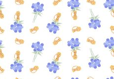 Floral seamless pattern with blue flowers and orange vases Royalty Free Stock Photo
