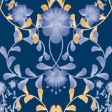 Floral seamless pattern with blue flowers texture gzhel. Background Stock Image