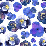 Floral seamless pattern with blue flowers in watercolor. Design Royalty Free Stock Photos
