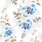 Floral Seamless Pattern with blue Peony Flowers and lilies. Spring Blooming for Fabric, Prints, Wedding Decoration, Invitation, Wallpapers. Vintage white royalty free illustration