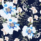 Floral Seamless Pattern with blue Peony Flowers and lilies. Spring Blooming for Fabric, Prints, Wedding Decoration, Invitation, Wallpapers. Vintage dark blue vector illustration