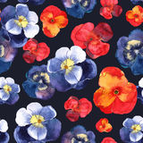 Floral seamless pattern with blue and red flowers in watercolor. Royalty Free Stock Photo