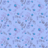 Floral seamless pattern with blue roses background Royalty Free Stock Images
