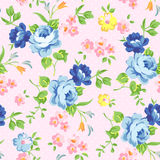 Floral seamless pattern with blue roses Stock Photos
