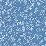 Floral seamless pattern in blue tones Stock Photography