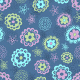 Floral seamless pattern in blue tones Stock Images