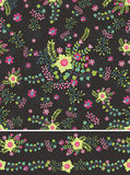 Floral Seamless pattern , borders.Flowers bouquet, branches Royalty Free Stock Photo