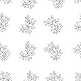 Floral seamless pattern with branches and berries. Simple and clean design. Great for textile, wrapping paper. White and black texture Royalty Free Stock Photography