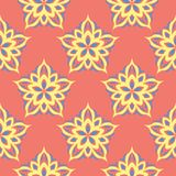 Floral seamless pattern. Bright pink orange background with yellow and blue flower elements. For wallpapers, textile and fabrics Stock Photography