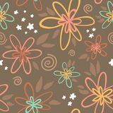 Floral seamless pattern on brown background Royalty Free Stock Photos