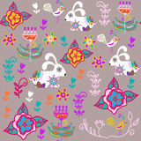 Floral seamless pattern with bunnyes and seamless pattern in swa Stock Photography