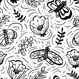 Floral seamless pattern with butterflies. Background with artist. Ic hand drawn insects and flowers in doodle style. Vector illustration for wrapping, textile Vector Illustration
