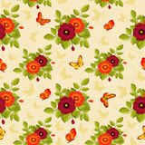 Floral seamless pattern with butterflies. Seamless background with flowers and  butterflies in retro style. Vector illustration Royalty Free Stock Images