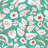 Floral seamless pattern with butterflies and bugs. Cute doodle s. Ummer and spring background with flowers and leaves, mushrooms and insects. Vector illustration vector illustration