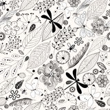 Floral seamless pattern with butterflies Royalty Free Stock Photos