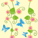 Floral seamless pattern with butterflies Stock Images