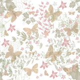 Floral seamless pattern with butterfly Royalty Free Stock Photo
