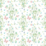 Floral seamless pattern with butterfly Stock Photos