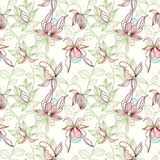 Floral seamless pattern. Can be used for wallpaper, website background, textile printing. Hand drawn endless vector illustration of flowers on light background stock illustration