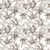 Floral seamless pattern. Can be used for wallpaper, website background, textile printing. Hand drawn endless vector illustration of flowers on light background Royalty Free Stock Photo
