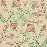 Floral seamless pattern , cartoon cute flowers beige background. Floral seamless pattern in retro style, cartoon cute flowers beige background Stock Photos