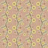Floral seamless pattern , cartoon cute flowers beige background. Floral seamless pattern in retro style, cartoon cute flowers beige background Stock Photo