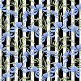 Floral seamless pattern , cartoon cute flowers on black with white streaks background Stock Images