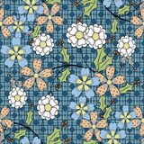 Floral seamless pattern, cartoon cute flowers blue background. Floral seamless pattern in retro style, cartoon cute flowers blue background Royalty Free Stock Photos