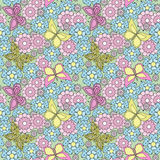 Floral seamless pattern , cartoon cute flowers and butterflies bright background Stock Photos