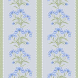 Floral seamless pattern , cartoon cute flowers on gray stripes green background Royalty Free Stock Photos