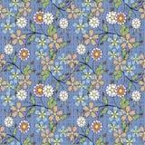 Floral seamless pattern , cartoon cute flowers light blue background. Floral seamless pattern in retro style, cartoon cute flowers light blue background Stock Image